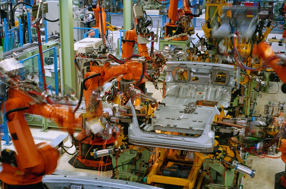 automation basics - a robotic car chassis assembly line