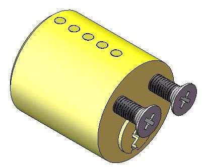 Lock Design: Cylinder secured to the lock body by two screws at the rear