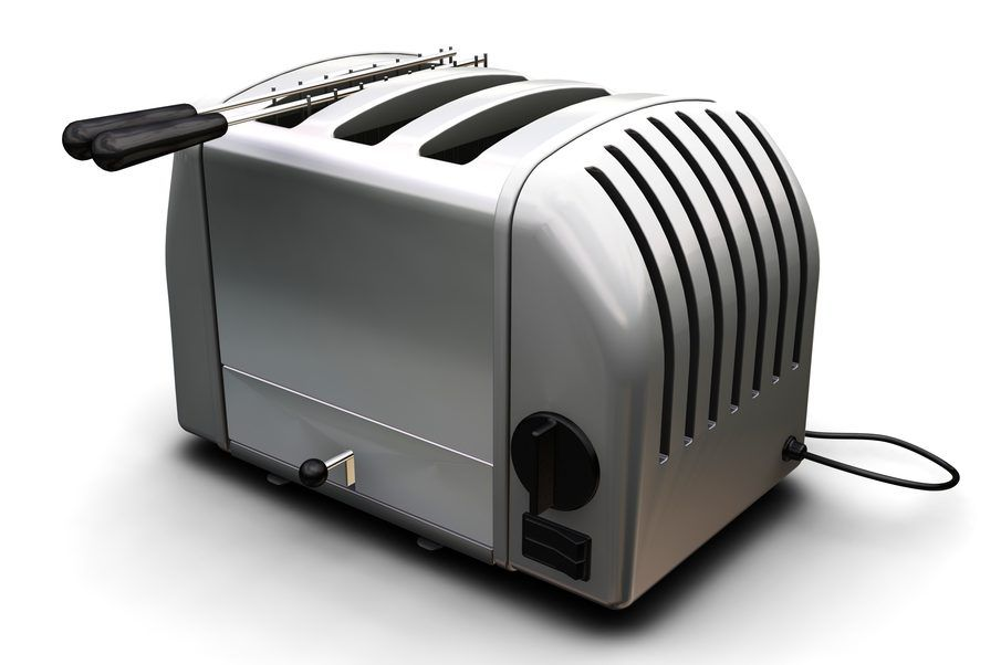 3D render of a contemporary toaster