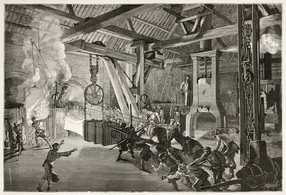 Steam Hammer in Le Creusot foundry, 1867