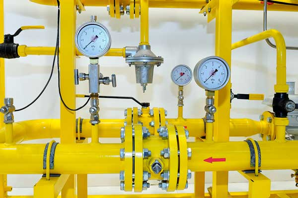 Pressure meters on natural gas pipeline