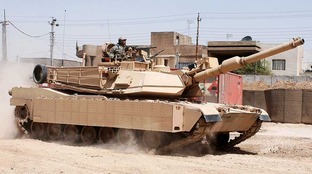U.S. Army M1A2 Abrams with production TUSK explosive reactive armor package installed