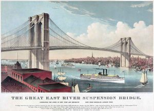 "Chromolithograph of the ""Great East River Suspension Bridge"", (Brooklyn Bridge)"