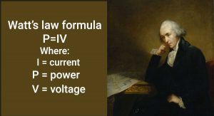 Watt's law formula: P=IV, where I=current, P=power, V=voltage