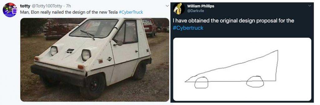 Tesla cybertruck design memes