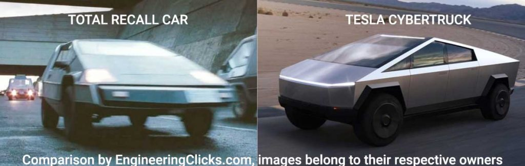 Tesla cybertruck compared to Total Recall car