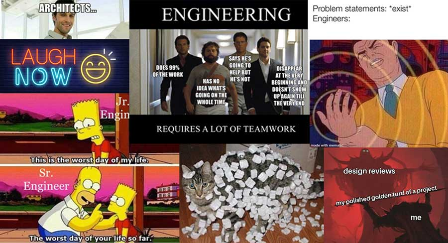 engineeering jokes, memes and anecdotes collage