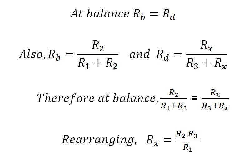 Wheatstone bridge formula