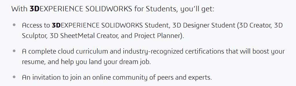 3DEXPERIENCE SOLIDWORKS Student, 3D Designer Student (3D Creator, 3D Sculptor, 3D SheetMetal Creator, and Project Planner)