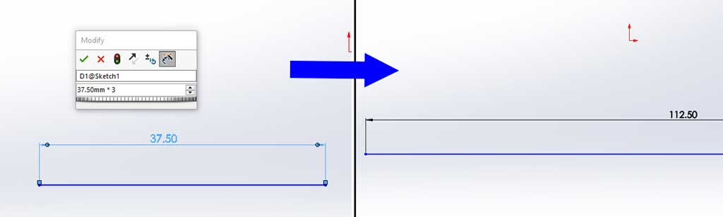 Another great feature of Smart Dimensions in Solidworks is that you can use mathematical symbols to change your dimensions.