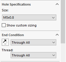 Next the user sets the size needed; hundreds of combinations exist, depending on the parent settings. The End Condition of the hole is specified next, and most of the standard Solidworks options, such as Through All and Up to Surface, can be used.