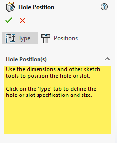 Once the user has specified the Hole Type the positions tab is then used to choose a selected face or plane for the holes. The Point Tool can then we used to add as many holes as are required and these can be fixed in place using Relations and Dimensions.