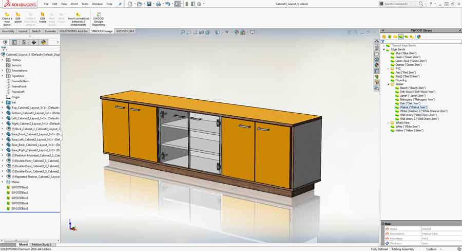 SWOOD is a CAD/CAM woodworking furniture design software that is integrated with SolidWorks