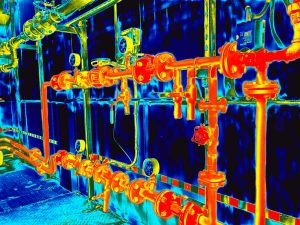 Thermographic image of pipes
