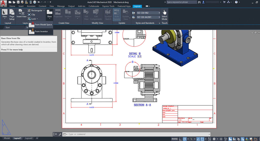 Manufacturing data is also available in AutoCAD, such as the designation of certain materials that are needed for each part/component, annotating dimensions, and the generation of manufacturing drawings.