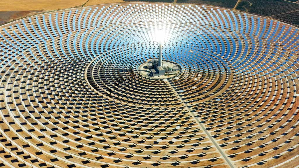 Solar panels in a large thermal circular power plant in Spain.