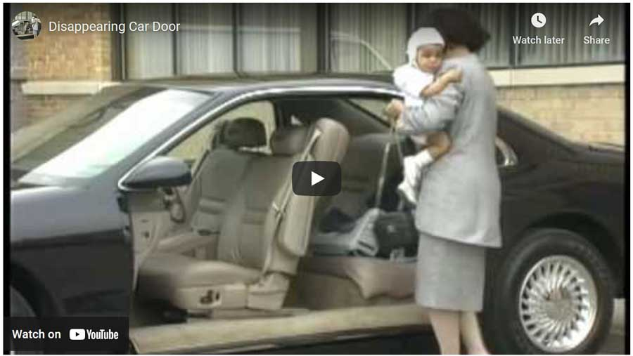 This 13 YEAR OLD video shows this incredible car door design that allows the car door to completely integrate back into the car body instead of swinging out like all common modern car doors