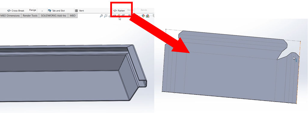 sheet-metal-solidworks: Flattening 3D Parts for Cutting