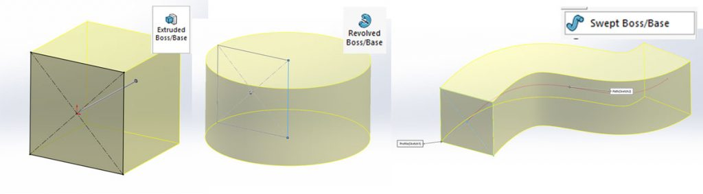 Solidworks loft: Different basic features using the same base profile. L-R – Extrude, Revolve Sweep
