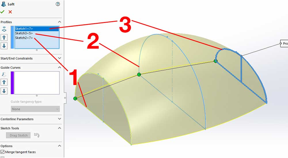 The process of creating a Lofted Boss/Base in SolidWorks is as follows: Select the profiles in order