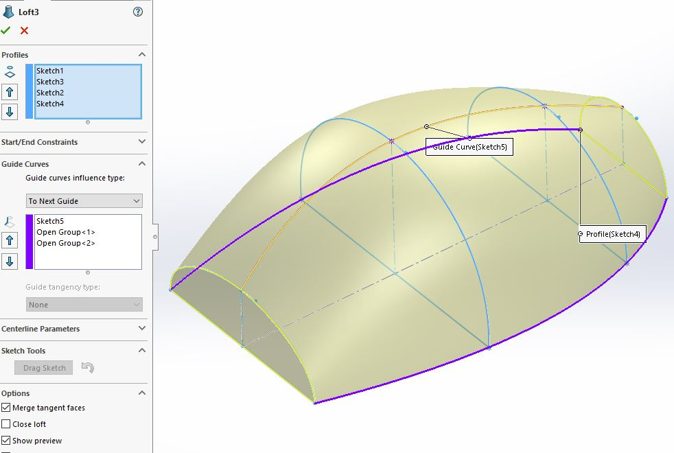 When creating a Loft in SolidWorks, automatic guide curves, called Connectors, are used to guide the form between the Loft Profiles.