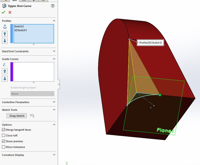 SolidWorks: Lofting to a Point