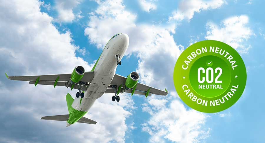 carbon-neurtral-flight-possibility. Is it possible? Plane in the sky with carbon neutral seal
