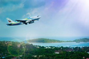 Carbon-Neutral Flight, Is It Possible? Aeroplane in the sky image.
