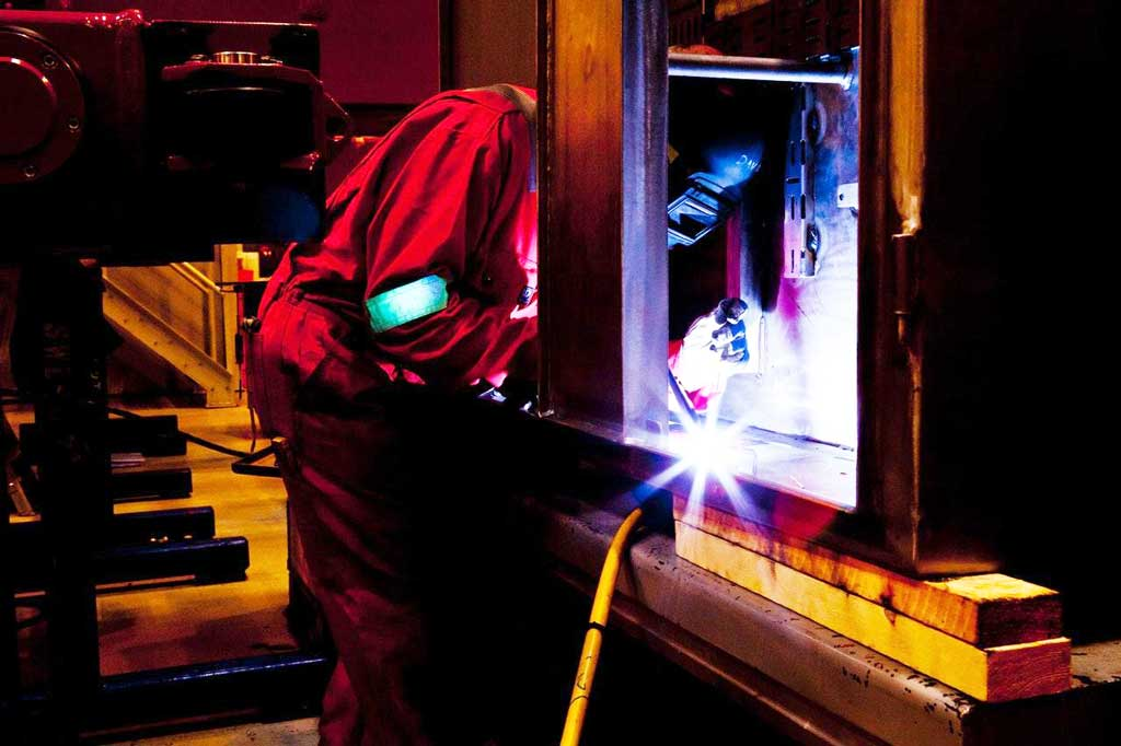 Cold welding does not have the typical molten metal and flying sparks that regular welding methods produce.