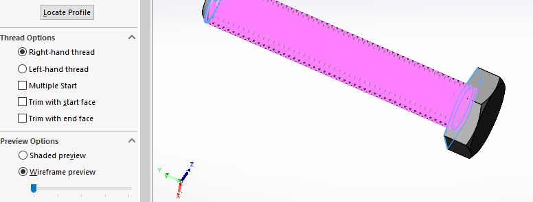 solidworks external thread: Set any further sub-options, if needed