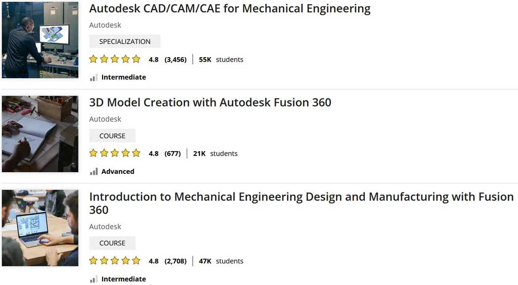 Fusion 360 tutorials from Coursera