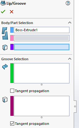 SOLIDWORKS lip and groove: With a body selected, the position of the lip/groove can then be set by selecting the face and edge