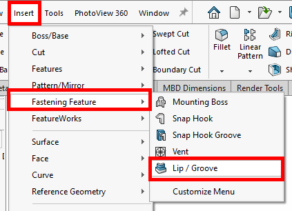 SOLIDWORKS Lip/Groove Tool Location