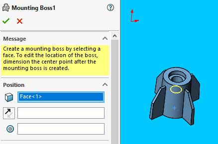 Solidworks mounting boss feature tutorial: Set the Mounting Boss position