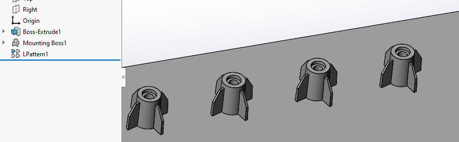 solidworks mounting boss tutorial: Add more Bosses using Patterning or Mirroring