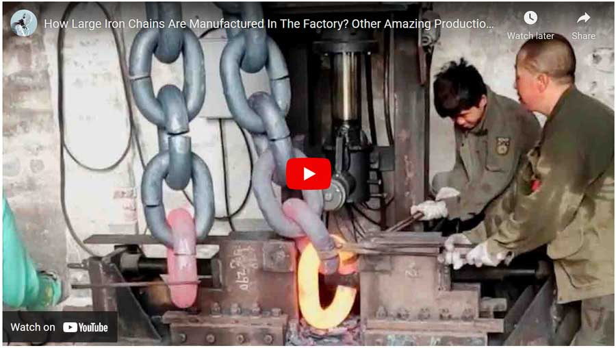 how-large-chains-are-made video of Chinese factory