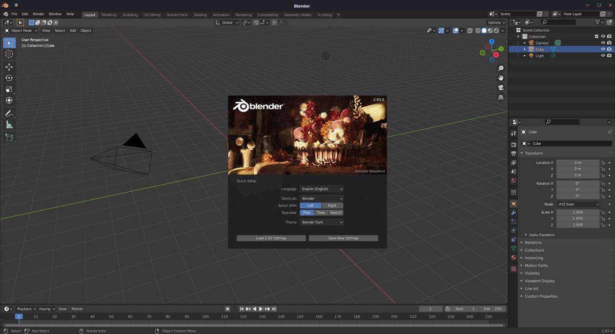 Maya vs Blender: Blender interface screenshot