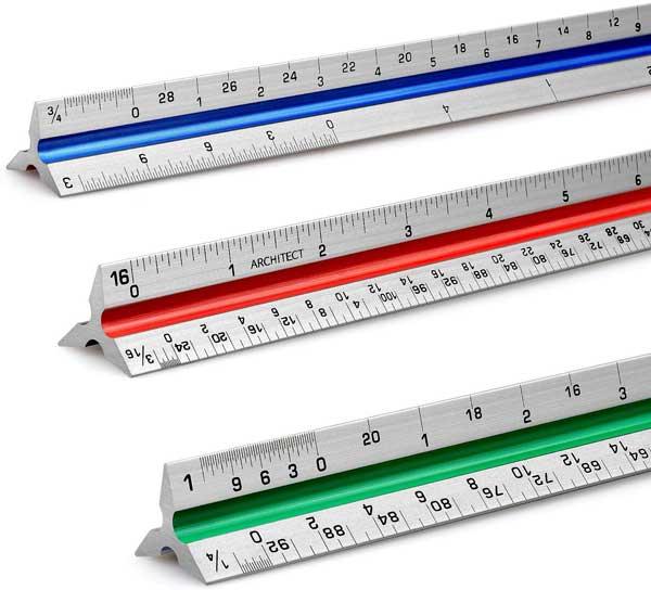 "12"" Architectural Scale Ruler Aluminum"